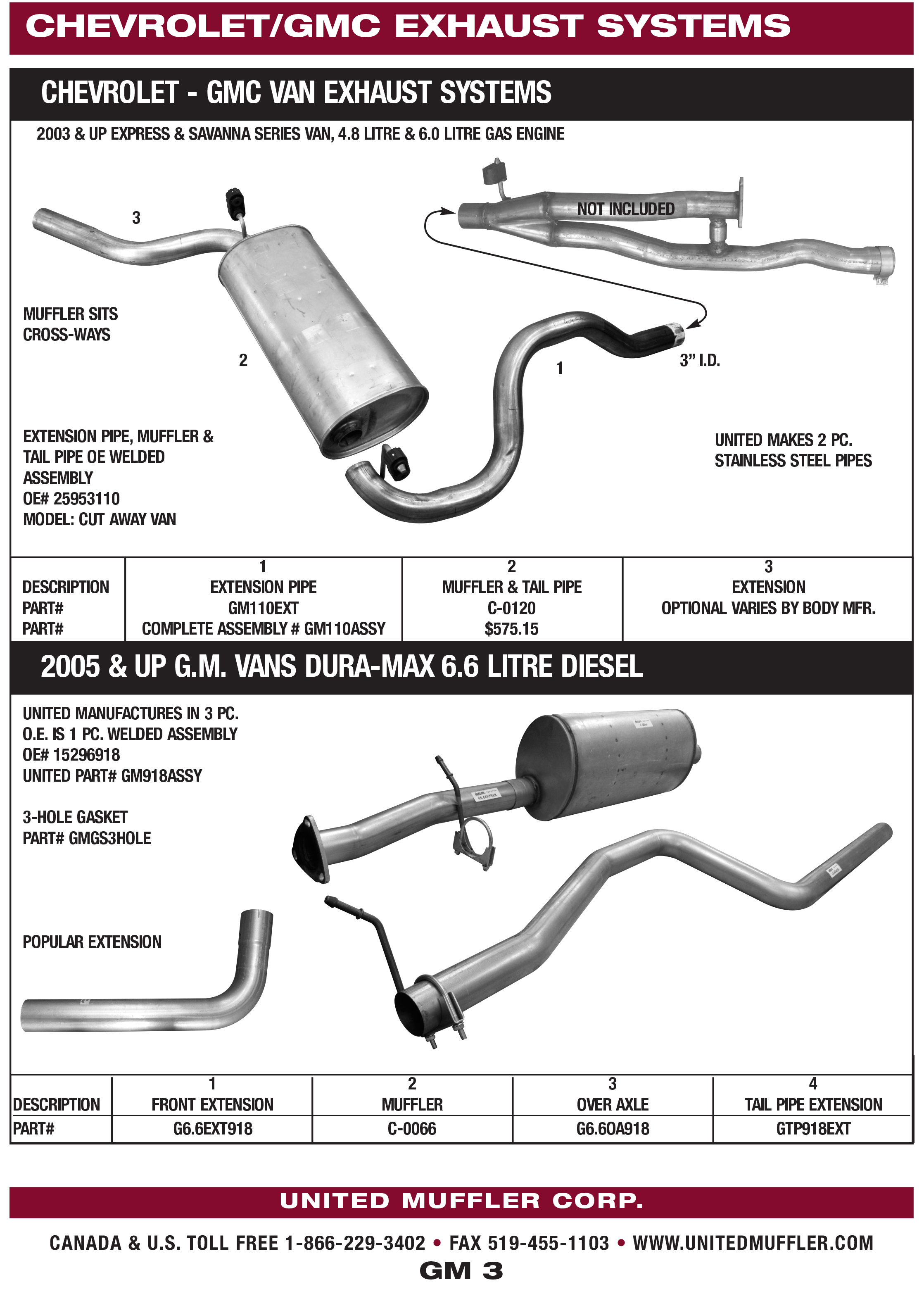 chev gmc united muffler corporation rh unitedmuffler com Chevy 305 Engine Exploded View GM 3 8 Series 2 Engine